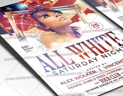 All White Party Flyer - PSD Template