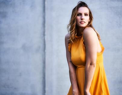 girl with orange dress