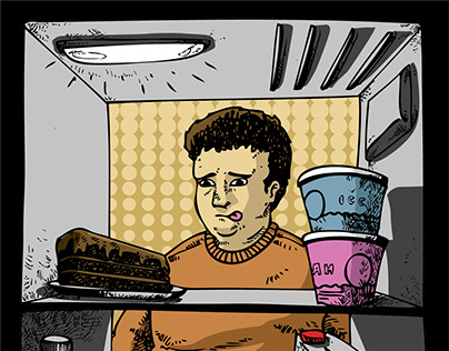 fridge point of view. editorial illustration