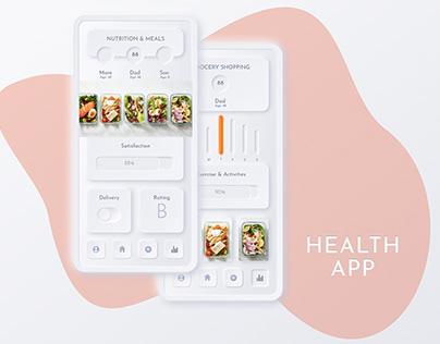 Health App: Heart, Sleep vs Exercise, Nutrition UI