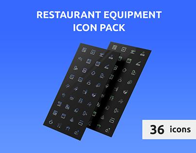 Restaraunt equipment icon pack
