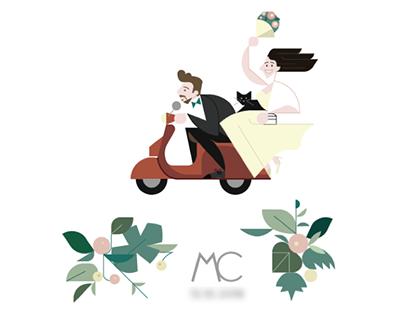 María & Christian wedding invitation