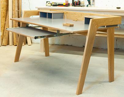 CNC designed oak desk