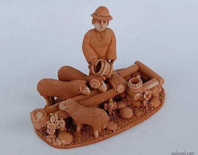 Ceramic Sculpture Artwork Shepherd