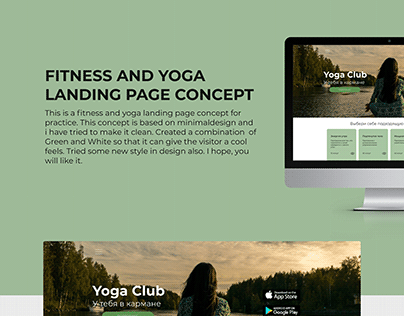 Fitness and Yoga Landing Page Concept