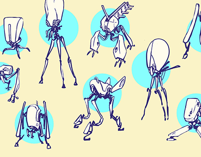 Sketches searching for three legs robot. WIP