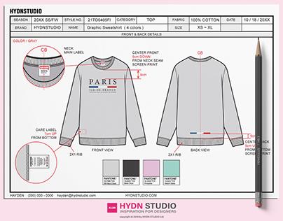 Sweatshirt Tech Pack / TechPack template