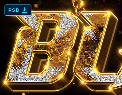 PSD Gold Bling Bling Text and Logo Effect