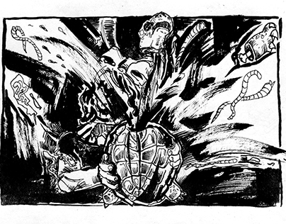 Hania and the turtle's revenge_ 2 panels_ink on paper