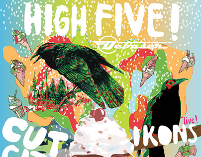 HIGH FIVE - Cut City / Ikons : Gig Poster