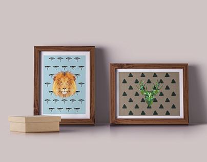 ANIMAL TRASH poligonal animals drawings