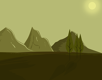 Flat Green Landscape - Digital Painting