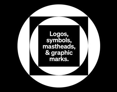 Logos, symbols, mastheads and graphic marks.