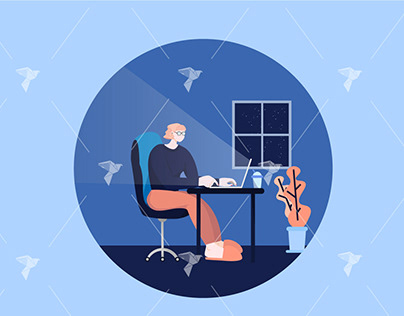 Working From Home Illustration