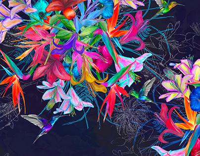 'Tropical Fever' Digital Print Lighting