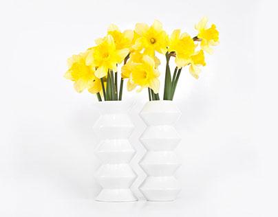 Zig Zag Vases - Modern Porcelain  Vases Set
