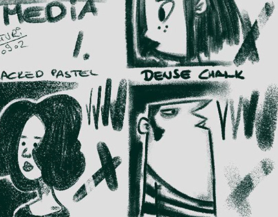 DAUB Dry Media brushset, reference face sketches