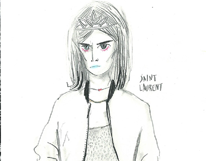 fashion illustration. Saint Laurent.