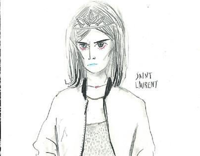 fashion illustration. Saint Laurent.