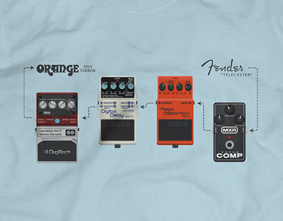 Guitar Effects Pedals T-Shirt design