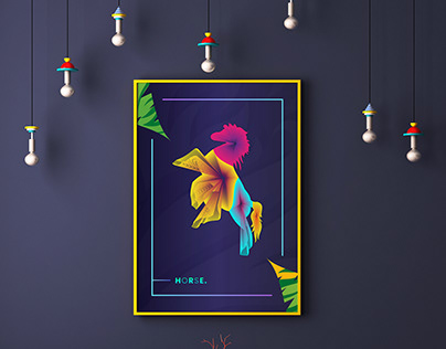 Animal Colorful Line Wall Art