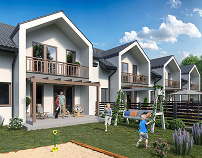 Terraced house - exterior visualization