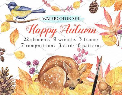 Happy Autumn - Watercolor Set