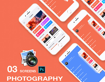 New photography app ui concept PSD