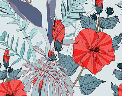 Tropical seamless pattern with blue leaves and hibiscus