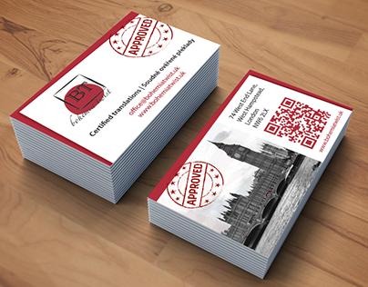 Business card for a certified translator in London