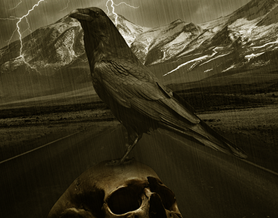Crow Under The Skull in the Storm Rain