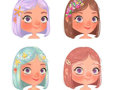 Little Girl Faces Mermaid Style