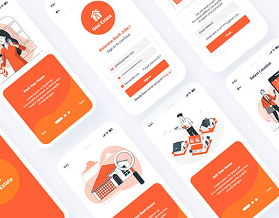 Realestate Mobile App UI PSD XD Template