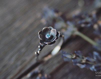 Wood anemone jewelry set