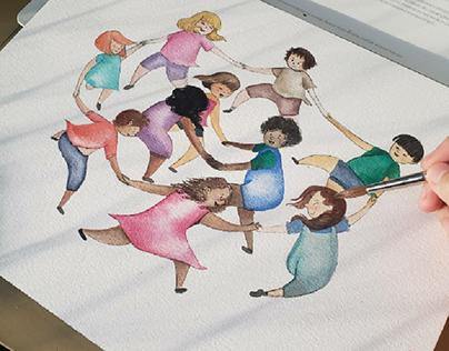 Cirandinha de crianças em aquarela.