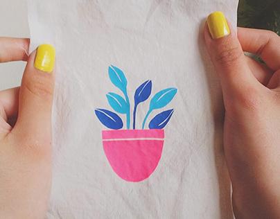 Ilustración con vinilo textil y bordado