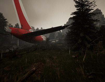 crashed plane in the woods ( with Unreal Engine5)