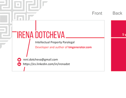 Business Cards for Irena Dotcheva - IP Paralegal