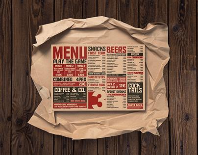 3Points, Sports Bar menu