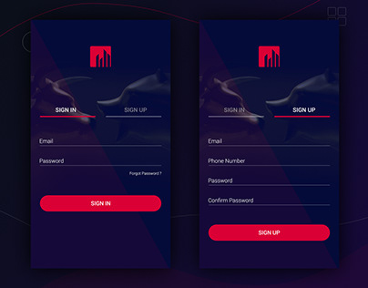 Trading App Sign In - Sign Up