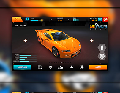 Parking game UI part 1 share-gui/ui/ue/ux app icon logo