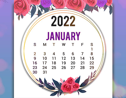 Printable Calendar 2022 Template Design