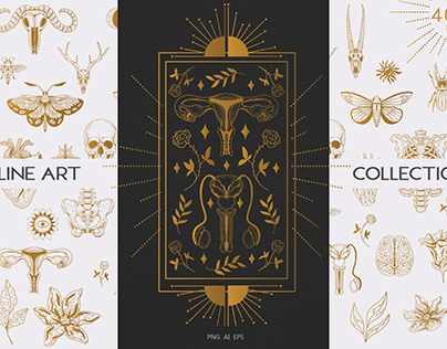 LINE ART COLLECTION. mystical pack