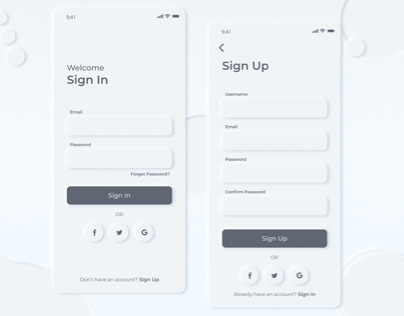 Neomorphism Sign in and Sign up page
