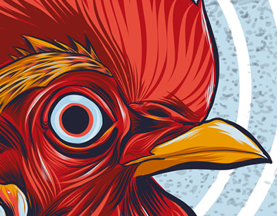 Hypno-Rooster Vector Illustration