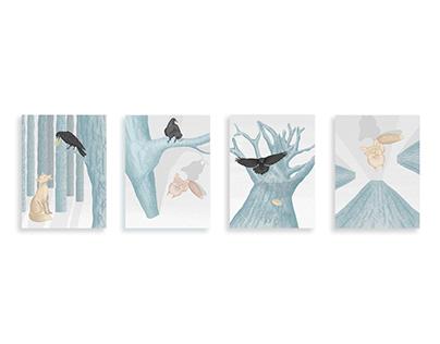 Le corbeau et le renard - Illustration numérique