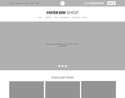 Wireframe for Faster Way Shop