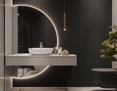 DARK BATHROOM DESIGN BY @bg_designn_