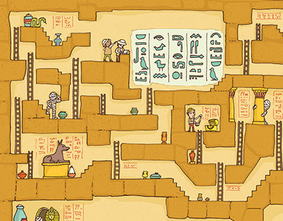 Labyrinth in Ancient Egypt - editorial illustration