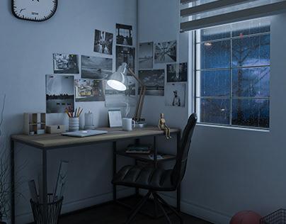 Study Desk   Rainy Night Mode